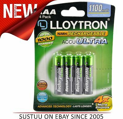 Lloytron B1004 Accuultra AAA 1100 Ni-MH Rechargeable Batteries - Pack of 4