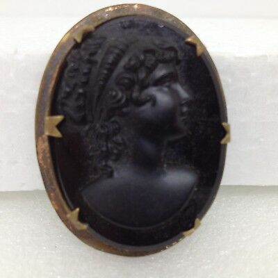 Vintage CAMEO BROOCH PIN Black Glass Gold Tone Lady Face Bust Costume Jewelry