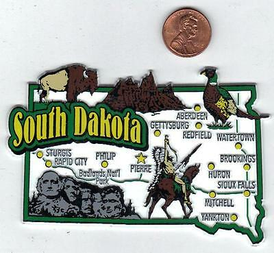South Dakota  State Map Jumbo  Magnet  7 Color     Minot  Fargo  Bismark