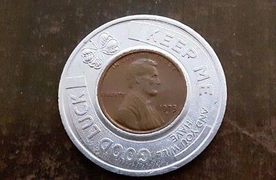 1973 Encased Coin-Good Luck Token, Coin,penny Rainbow Shops-Clothes, Store