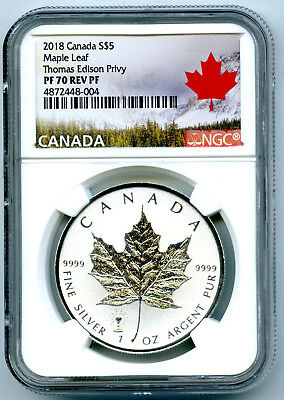 2018 $5 Canada 1Oz Silver Maple Leaf Ngc Pf70 Edison Light Bulb Privy Top Pop8