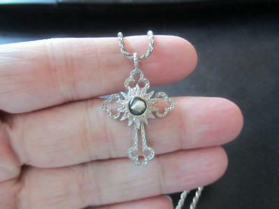 925 Sterling Silver Vintage Cross with Relic Pendant  Must  See!