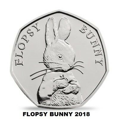 2018 Flopsy Bunny 50p  FIFTY PENCE BEATRIX POTTER,  UNCIRCULATED.,