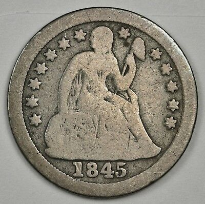 1845-o Seated Liberty Dime.  G.-V.G.  123479