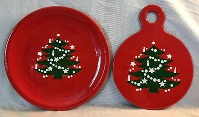 "Waechtersbach Christmas Tree Dinner Plate 10"" & Cheese Tray GERMANY"