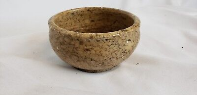 """Rare antique middle eastern carved stone bowl, ca. 1940s, #1, 3"""" wide"""