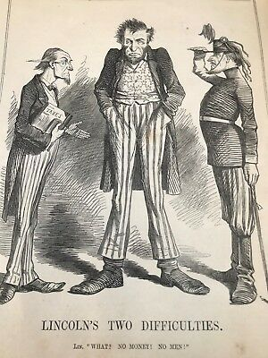 1862 cartoon print . lincoln's two difficulties !