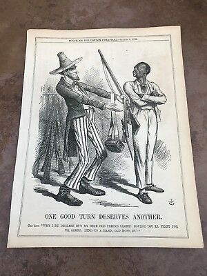 1862 cartoon print . abe lincoln asking a coloured man to fight !