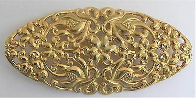 Vintage Repousse Large Flower Brooch Art Nouveau Inspired Gold Tone Pin