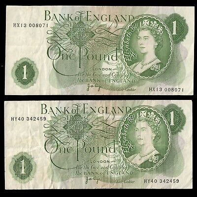UK GREAT BRITIAN (2) £1 POUND Bank of England Circulated Banknotes