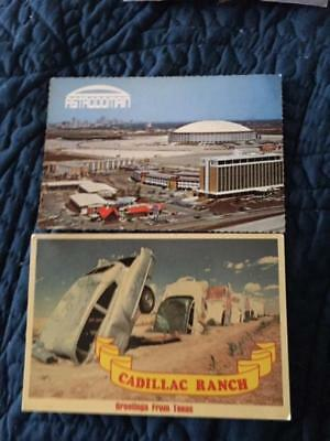 Lot of 2 Texas postcards, Cadillac Ranch/Amarillo, Astrodomain Complex/Houston