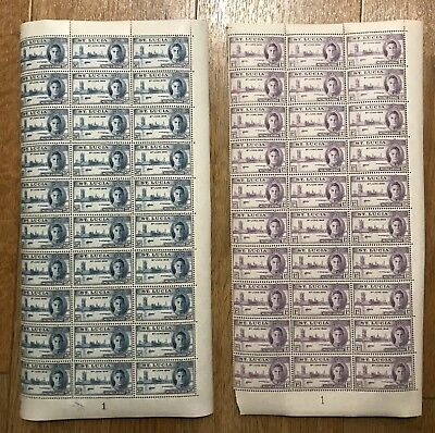 St Lucia. 1946 Victory. Set x 2 half sheets x 30 with Control 1. Fine and fresh!