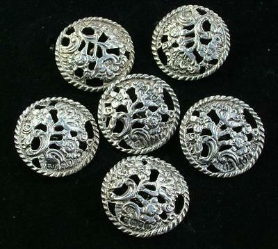 6 x LARGE ANTIQUE VICTORIAN SAMUEL JACOBS STERLING SILVER LARGE BUTTONS - LOT 58