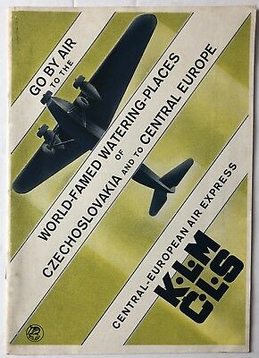 1935 KLM Airlines & CLS (Czechoslovakia) Central European Timetable & Booklet.