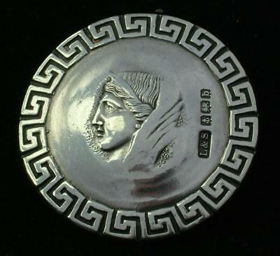 LARGE 32mm ANTIQUE HM1901 STERLING SILVER GREEK GOD BUTTON LEVI & SALAMAN LOT 51