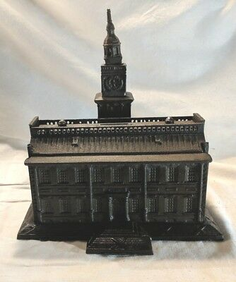 "Original Cast Iron ""Independence Hall"" Still Bank, 1875, Terranova , large 10 in"