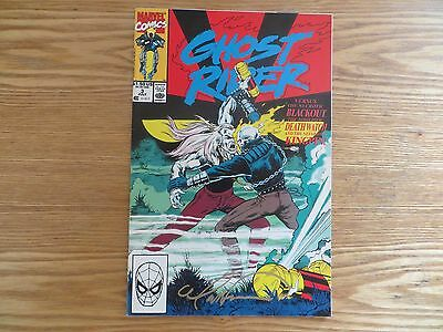 1990 Vintage Marvel Ghost Rider # 3 Signed By Mark 'tex' Texeira Art, With Poa
