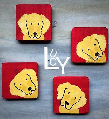 Golden Retriever Wood Coasters Hand Painted