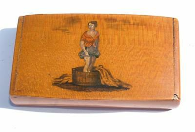 ANTIQUE 19th CENTURY MAUCHLINE WARE WASHER WOMAN SNUFF BOX - LOT 67