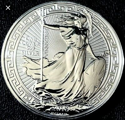 2018 1oz Silver Britannia Oriental Border 1 ounce Silver Bullion in capsule