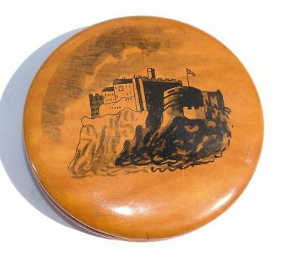 Antique Victorian Mauchline Ware Penned Openwork Castle Drawing Snuff Box Lot 56