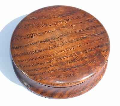 Antique Victorian Oak Treen Wooden Circular Snuff Box - Lot 65