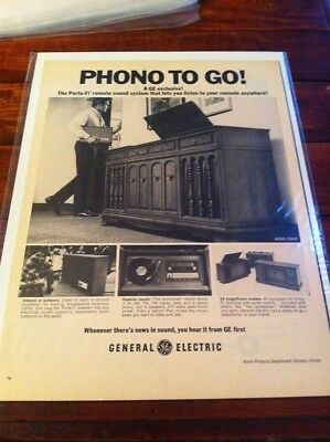 Vintage 1968 General Electric Porta Fi Sound System Phone To Go Print Art ad