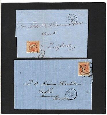 Spain - 1861 - Two Postal History Covers - With Cds Postmarks