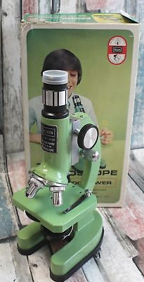 Vintage SEARS ZOOM MICROSCOPE 50 to 1200 Power Green Microscope - H25