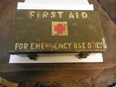Original Ww2 Ww11 Us Army 12 Unit First Aid Kit Can / Box For Truck / Jeep