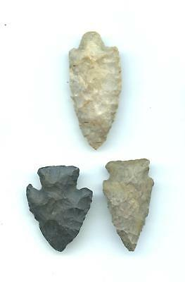 Indian Artifacts- 3 Fine Points-Arrowheads