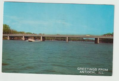 1960 Postmarked Postcard Greetings from Antioch Illinois IL Speed Boating Lakes
