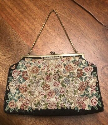 1930s Vintage Antique Hand Made Petit Point Embroidered Handbag Purse