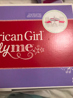 American Girl Truly Me Dining Table and Chairs NIB New Retired Pink Cushions