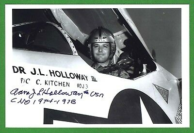 Adm. James Holloway 1st Cmdr. Nuclear Carrier, Fighter Pilot Signed Photo E18577
