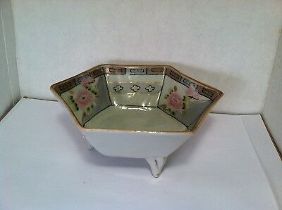 vintage 6 sided hand painted dish on 3 feet with pink flowers made in Japan