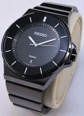 RARE Seiko Black Ion Black Dial Date WR 100m Men's Stainless Steel Watch SGEG21