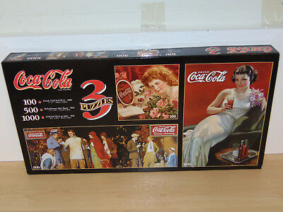 Factory Sealed Box of Three Coca Cola Puzzles