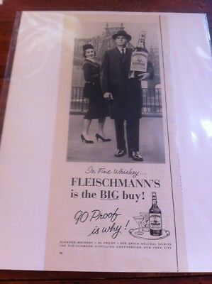 Vintage 1961 Fleischmann's Whiskey The Big Buy Man Carrying Giant Bottle ad