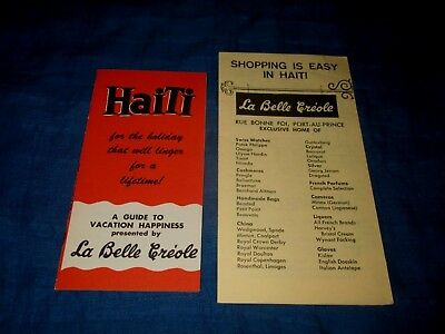 HAITI-A GUIDE TO VACATION & SHOPPING IS EASY-LA BELLE CREOLE-1960s ERA BROCHURES