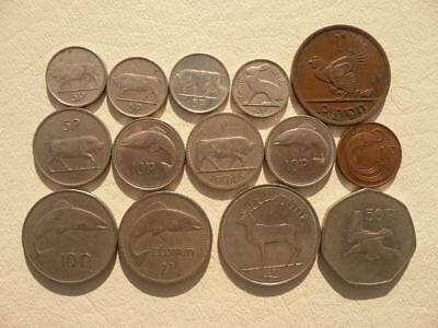 Lot of 14 Irish Coins of Ireland - With Animals and Harps - BIN