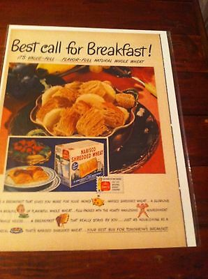 Vintage 1948 Nabisco Shredded Wheat With Bananas Best Call For Breakfast ad