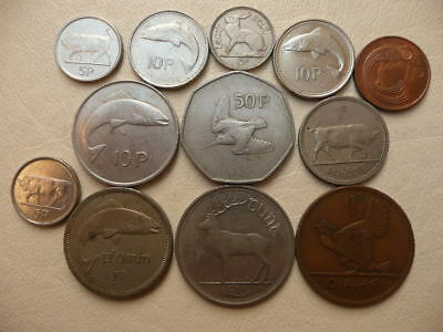 Lot of 12 Irish Coins of Ireland - With Animals and Harps