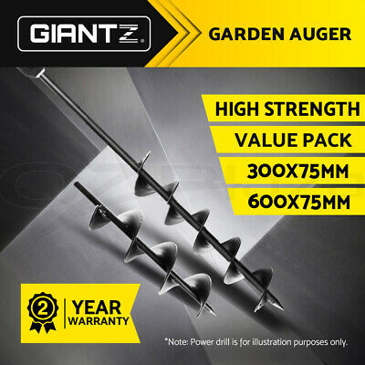 GIANTZ Power Garden Auger Small Earth Planter Post Hole Digger 75 x 300 + 600mm