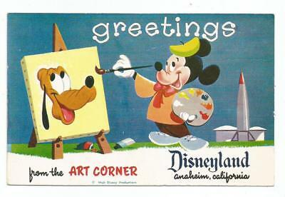 1950's Disneyland Postcard Mickey Mouse & Pluto Greetings From The Art Corner