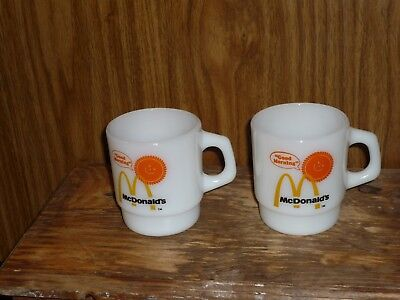 "Vintage White Anchor Hocking Fire King ""good Morning"" Mcdonald's Coffee Mugs"