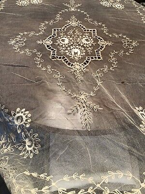 Fabulous Antique French Tambour Net Lace Bed Cover