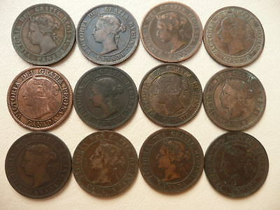 Lot of 12 Queen Victoria Large Cent Coins