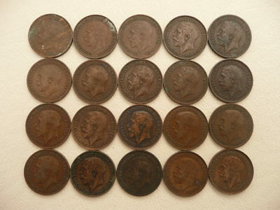Lot of 20 English Farthing Coins of England - King George V (the 5th)