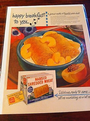 Vintage 1946 Nabisco Shredded Wheat With Peaches Happy Breakfast To You Print ad